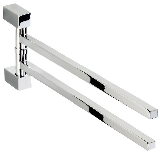 Double Swing Out Towel Bar Holder 2 Folding Arm Swivel