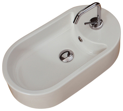 Oval-Shaped White Ceramic Vessel Sink, One Hole.
