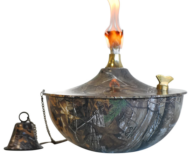 Charming Maui Tabletop Tiki Torch/Oil Lamp Tiki Torch With Snuffer, Realtree Xtra  Transitional