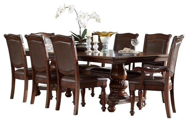 9 Piece Licona Dining Pedestal Table 2 Arm Chair 6 Side Brown Cherry
