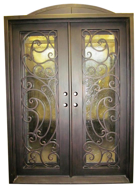 "Tiffany 61""x81"" Iron Door, Square Top, Sandblast Glass, Left Hand Inswing."