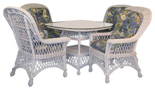"""Bar Harbor 5-Piece Dining Set With 42"""" Glass in White, Wild Orchard Black Fabric"""