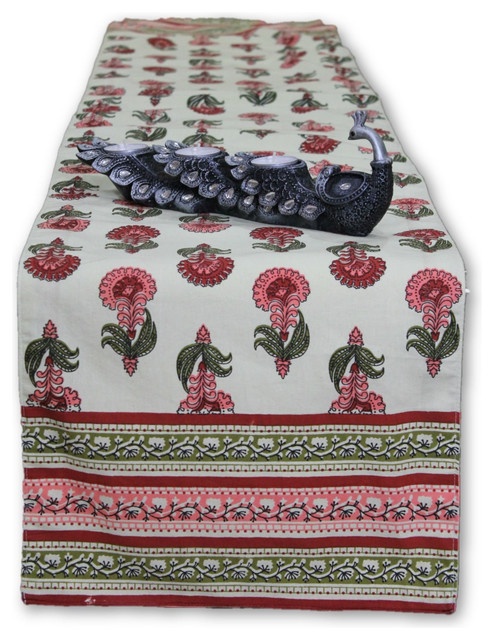 Elegant Pink Flower, Cotton Bed Or Table Runner Traditional Table Runners