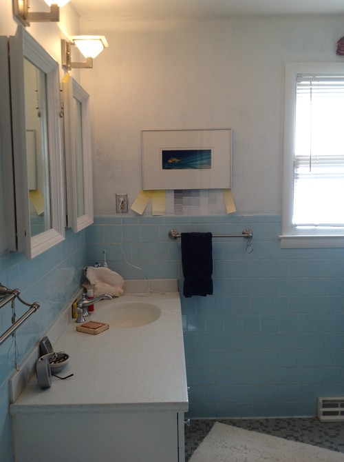 What to do with a baby blue bathroom for Dark blue bathroom tiles