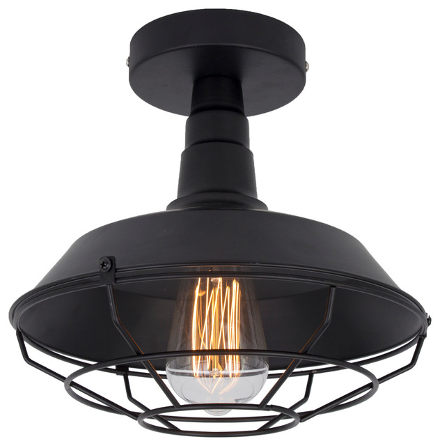 iron wire cage semi-flush mount, black - industrial - flush-mount