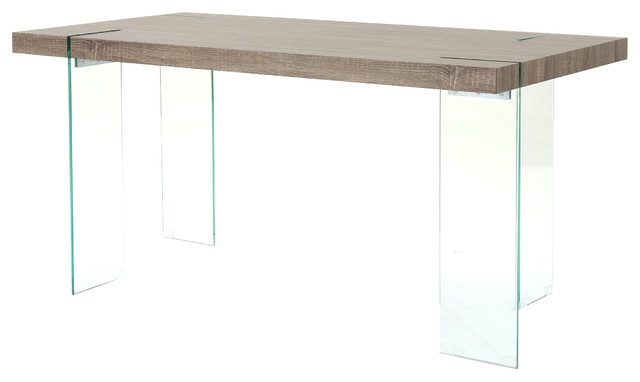 Migdon Modern Dark Sonoma Oak Faux Wood Dining Table With Tempered Glass Legs.