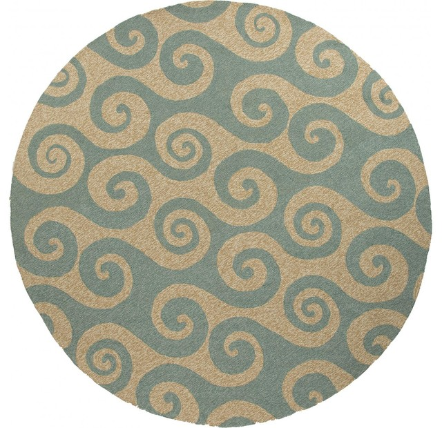 Jaipur Rugs Coastal Wave Hello 8 X 8 Indoor Outdoor Rug Beige Blue Modern