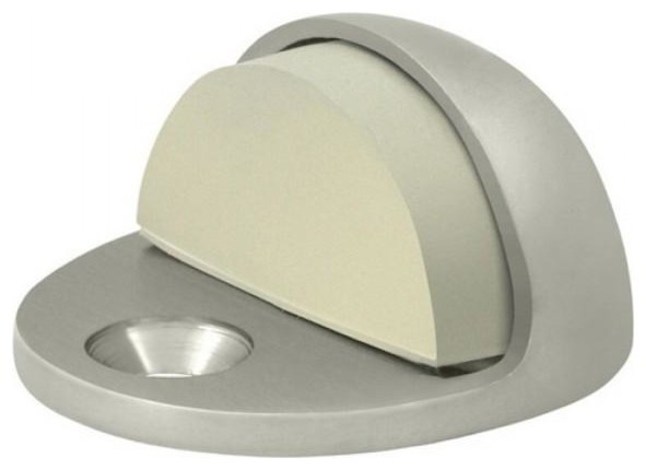 """Satin Nickel 1/"""" High Low Rise Dome Stop"""
