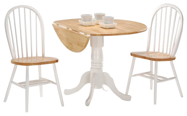 3 piece round dining set white and natural farmhouse dining