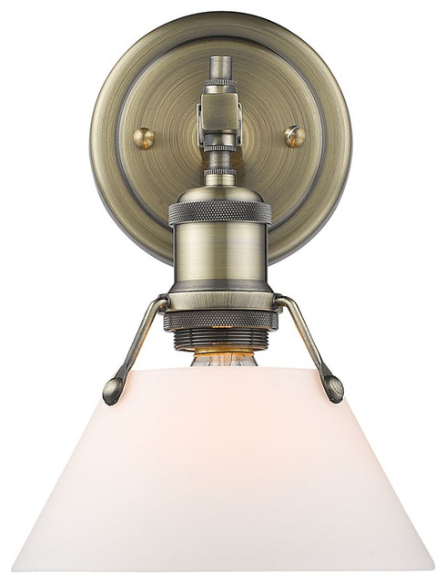 Bathroom Vanity Lights Industrial : Orwell 1-Light Bath Vanity with Aged Brass Shade - Industrial - Bathroom Vanity Lighting - by ...