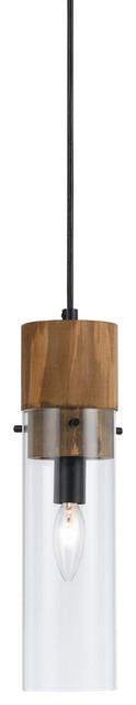 Spehroid 1 Light Pendant in Black And Wood