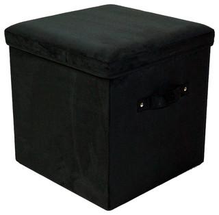 microsuede folding storage ottoman transitional