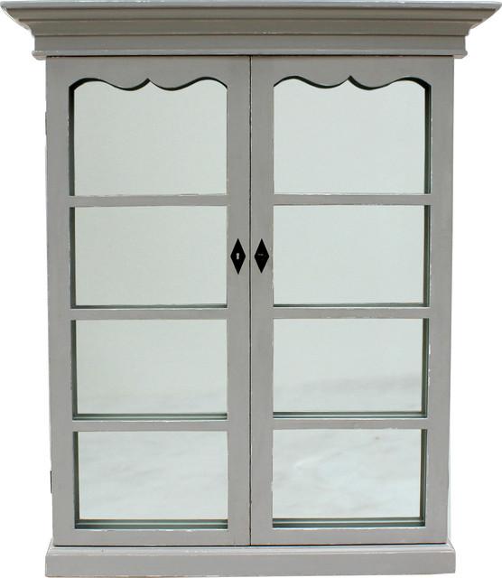 Adriana French Window Mirror, Gray.