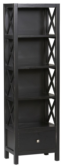 4 Shelf Narrow Bookcase Antique Black Contemporary Bookcases By Shopladder
