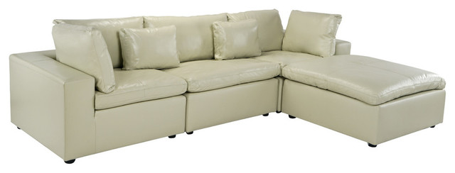Large Low Profile Sectional Sofa Wide Chaise Lounge Leather Beige