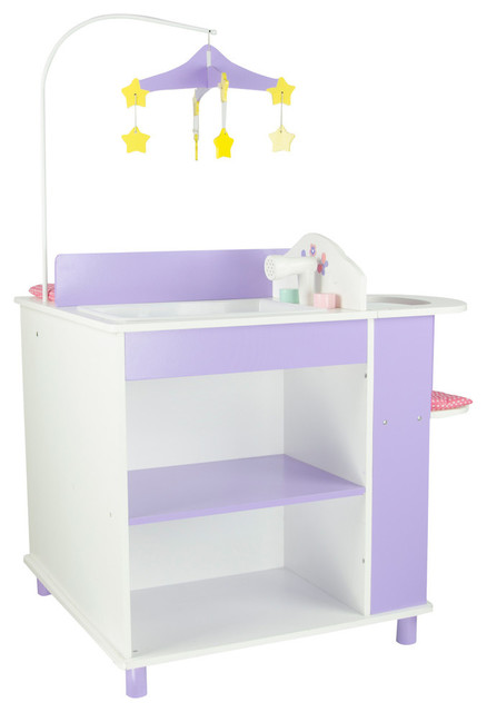 Little Princess Doll Furniture Baby Changing Station White And Purple Traditional Tables By Teamson