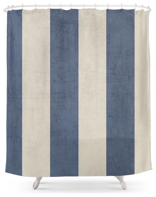 Vintage Style Dark Blue Stripes Shower Curtain Contemporary Shower Curtai