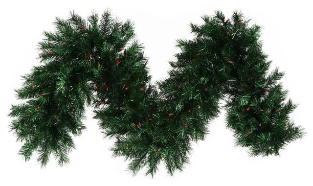 Pre lit pine christmas tinsel garland red dura lights