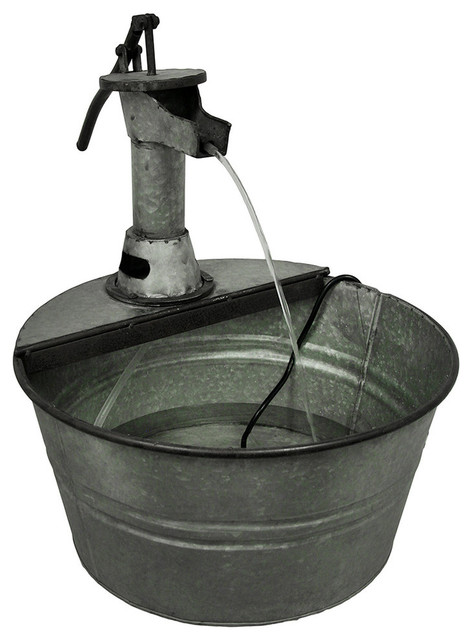 Vintage Style Galvanized Metal Water Pump Wash Bucket  : eclectic indoor fountains from www.houzz.com size 472 x 640 jpeg 57kB