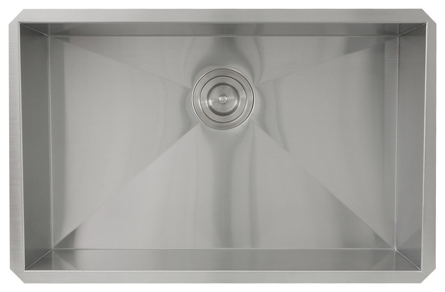 "Nantucket 28"" Pro Series Rectangle Undermount Zero Radius Stainless Steel Sink."