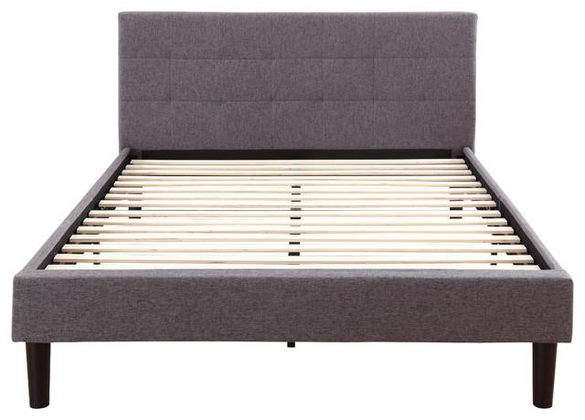 linen upholstered platform bed with wooden slats gray queen midcentury
