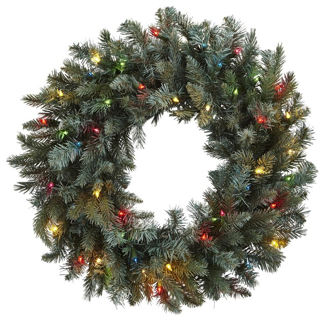 Silk Flowers -30 Inch Pine Wreath With Colored Lights Artificial Plant.