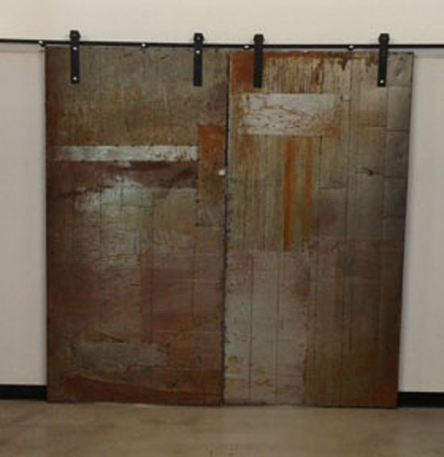 Metal sliding doors industrial interior doors for Metal barn doors