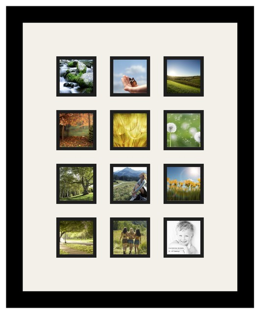arttoframes collage photo frame with 12 3x3 openings and satin black frame contemporary picture