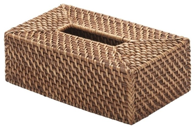 Rectangular Rattan Tissue Box Cover Honey Brown