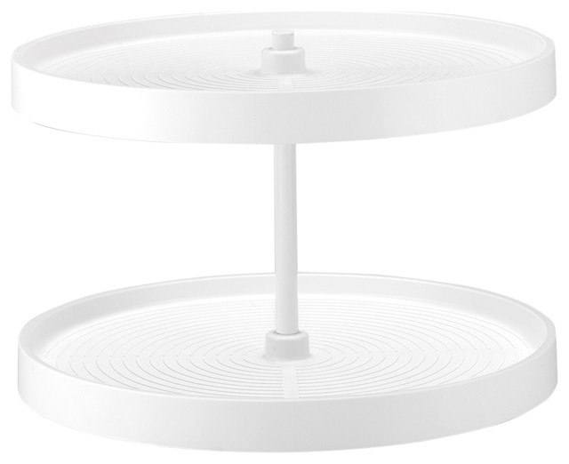 White Polymer Full Circle Bottom Mount Two-Shelf Lazy Susan Set, 24.