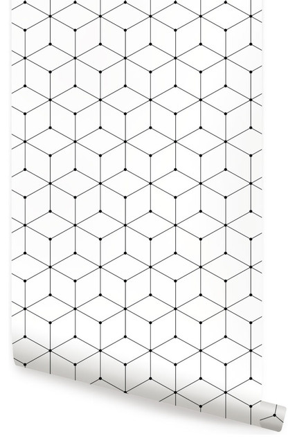 Geometric Cube Wallpaper, Peel And Stick, 24x108.