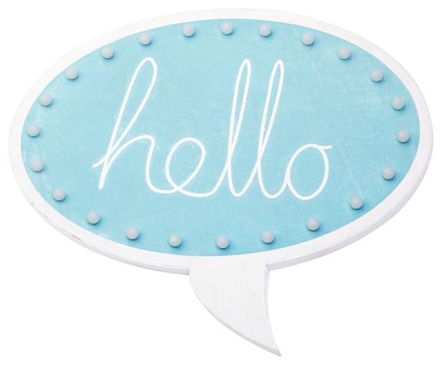 Blue ''Hello'' Speech Bubble Wall Light
