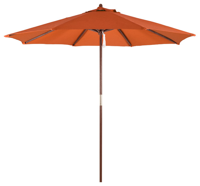9&x27; Wood Market Umbrella Pulley Open Hardwood, Polyester, Tuscan.