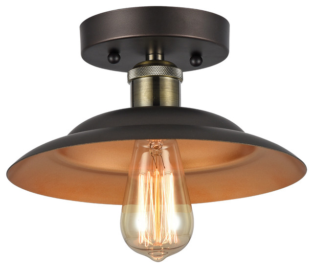 ironclad 1 light rubbed bronze semi flush ceiling fixture