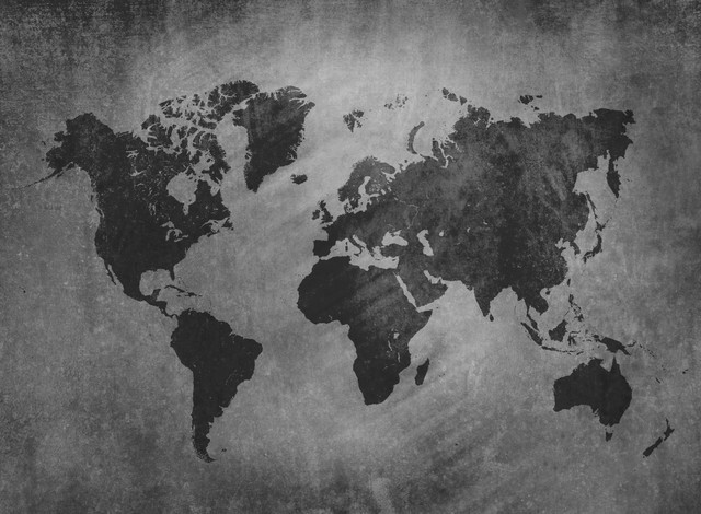 World Map Wallpaper grey world map wallpaper - contemporary - wallpaper -numerart