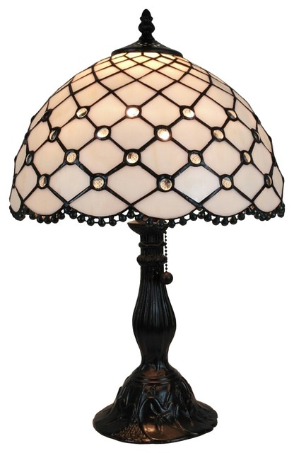 Amora Lighting Tiffany Style Jewel Table Lamp 19 Inches Tall.