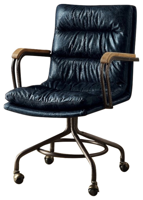 Metal U0026 Leather Executive Office Chair, Vintage Blue
