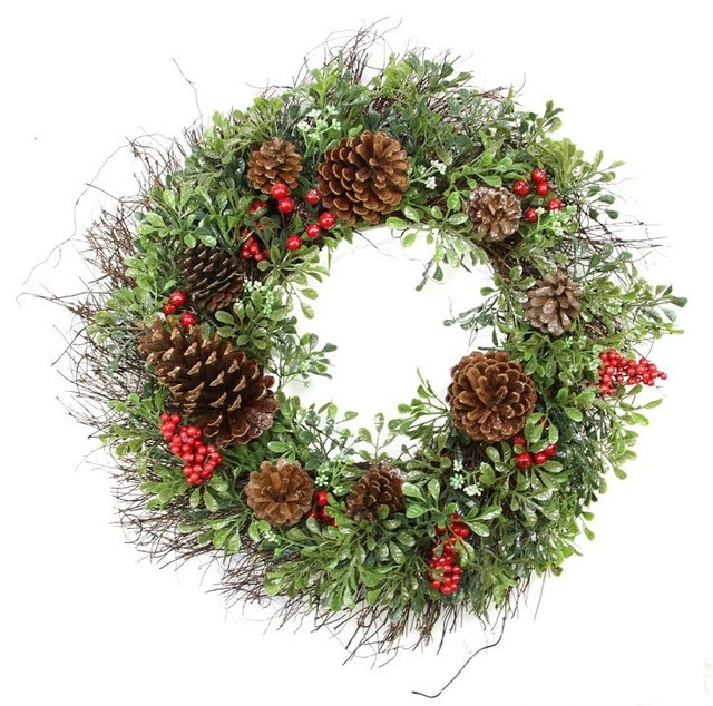 Christmas Pine Garland.24 Glittered Artificial Boxwood Pine Cone And Red Berry Christmas Wreath Unlit