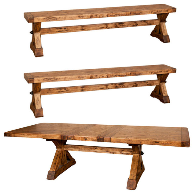Rustic Kitchen Table With Benches That Can Slide: - Rustic X Base Farmhouse Trestle Dining Table Set With 2
