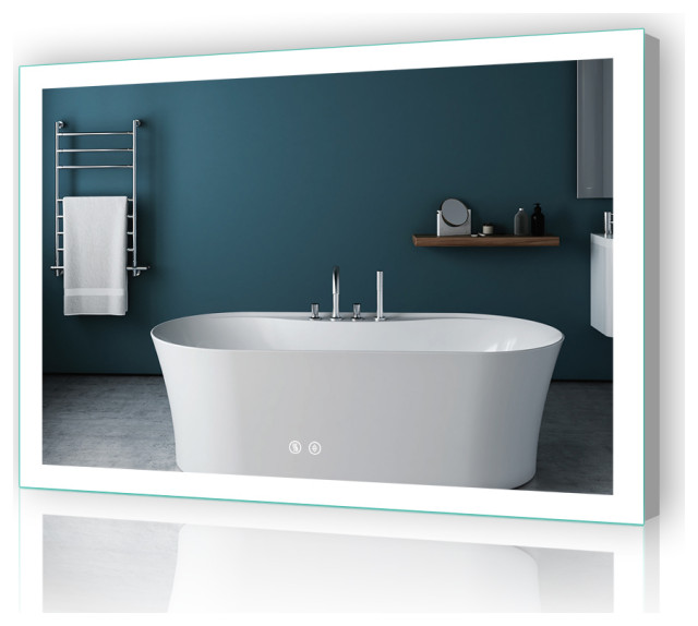 "LED Bathroom Backlit Mirror With Dimmer Defogger, 48""x36""-2 Buttons"