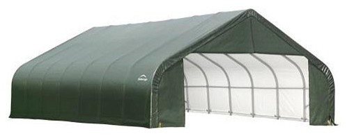 30x24x20 Peak Style Shelter With Green Cover.