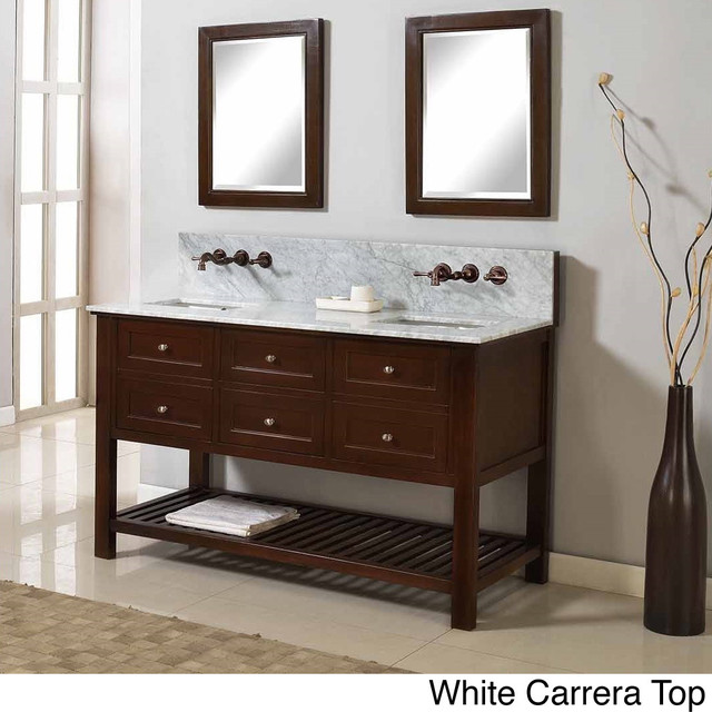 Direct Vanity 60 Inch Mission Spa Premium Dark Brown Double Vanity Sink Cabinet Contemporary