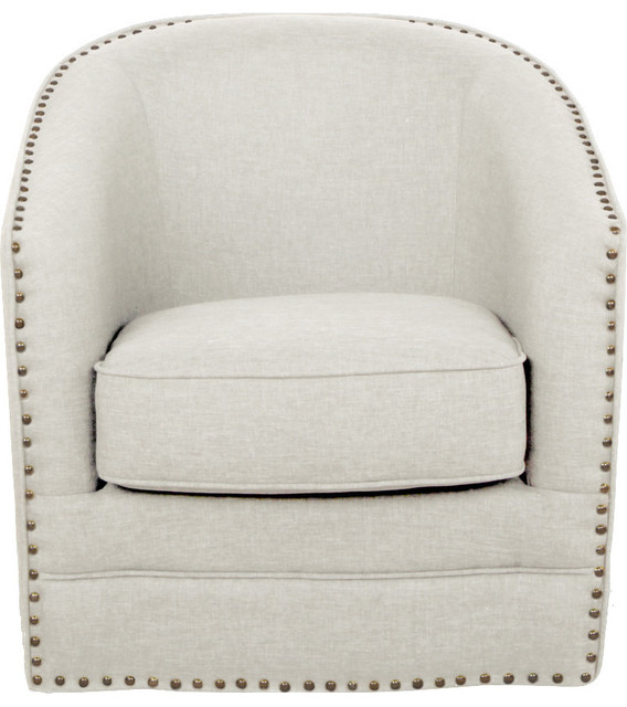 Porter, Contemporary Classic Retro Beige Fabric Upholstered Swivel Tub Chair  Transitional Armchairs And