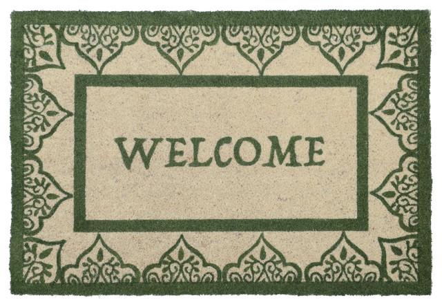 """Brady 24""""x36"""" Coir Fiber Doormat By Kosas Home, Green."""