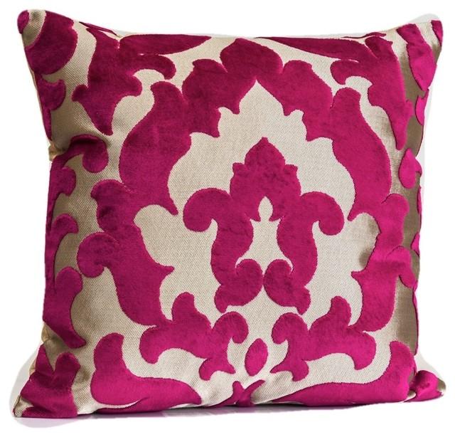 Designer Velvet Throw Pillow Fuchsia And Gold Cover Accent 20 X