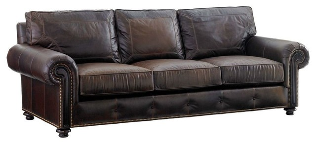 Tommy Bahama Home Kilimanjaro Riversdale Leather Sofa.