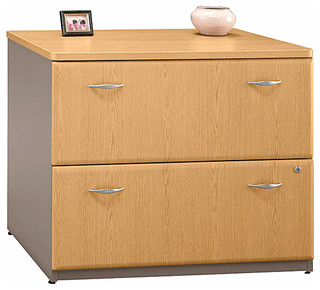 Lateral Grey & Oak File Cabinet w Fully Exten - Contemporary - Filing Cabinets - by ShopLadder