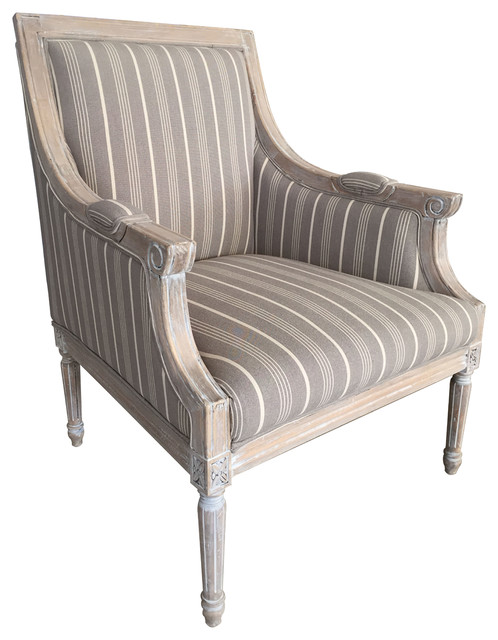 Antique Taupe Accent Chair, Multi-Line Pattern - Antique Taupe Accent Chair - Farmhouse - Armchairs And Accent Chairs