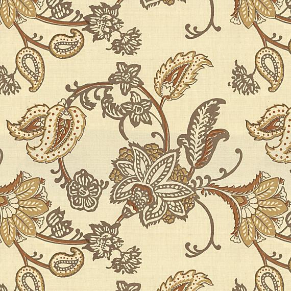 Tan Floral Block Print Cotton Fabric Traditional
