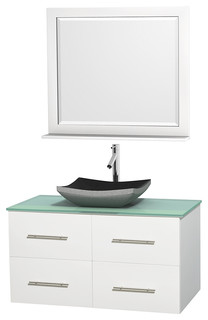 Centra 42 White Single Vanity Green Glass Top Altair Black Granite Si